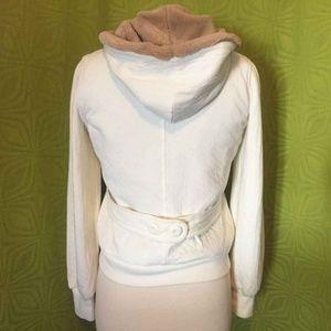 Allihop Anthropologie Ivory Softest Fur Hood Coat